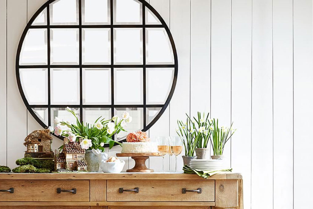 Pottery espejo circular repartido velvet deco velvet for Espejo circular