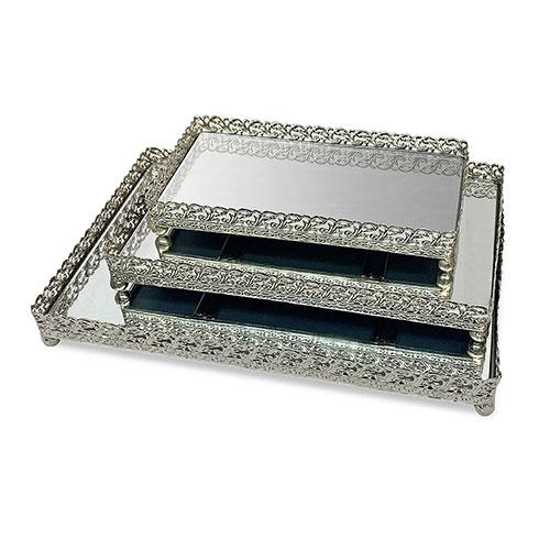 set bandejas metálicas con espejo