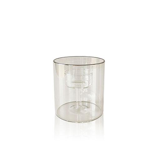 Portavelas vidrio plata Moma